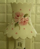 Pink Polka Dots and Roses Porcelain Night Light Hand Painted