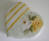 Hand Painted Porcelain Heart Box Roses