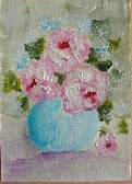 Fluffy Pink Roses Acrylic ACEO