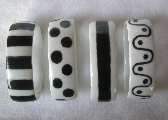 Black and White Hand Painted Porcelain Napkin Rings