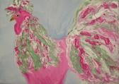 Whimsical Rooster Impasto Acrylic Painting