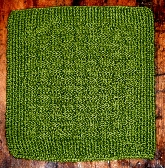 Hand Knitted Basket Weave Washcloth in Sprout Green Cotton Bamboo