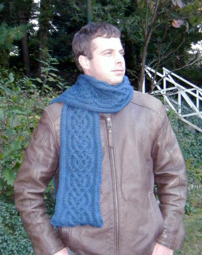 Deep Blue Celtic Knot Hand Knitted Scarf