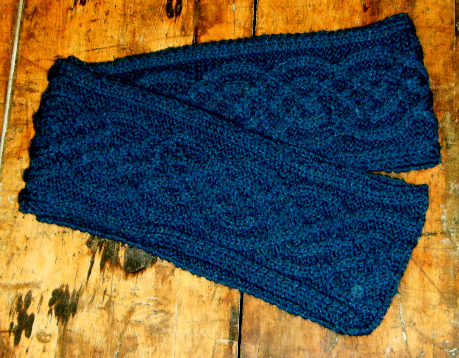 Celtic Knot Scarf Knitting Pattern : Deep Blue Celtic Knot Hand Knitted Scarf on Handmade Artists Shop