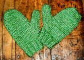 Shimmery Apple Green Knitted Mittens