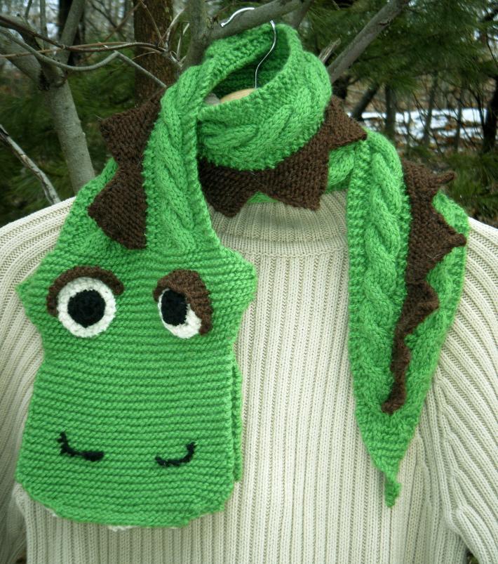 Designer Knitted Green Dinosaur Scarf