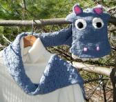 Designer Knitted Grey Hippopotamus Scarf