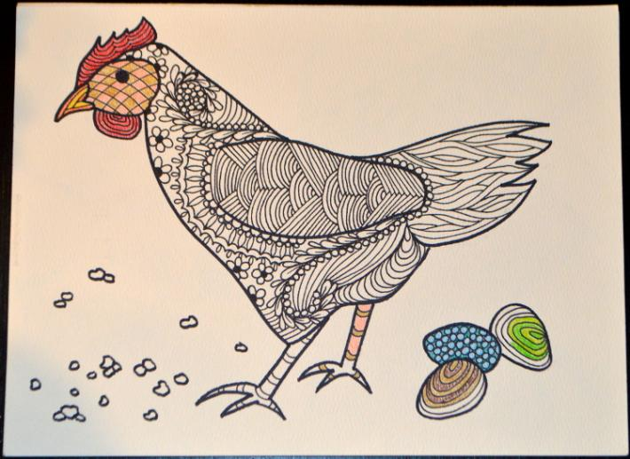 Chicken Adult Coloring Page Instant Download