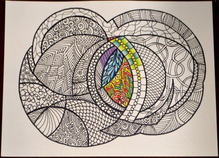 Abstract Circles Adult Coloring Page Instant Download