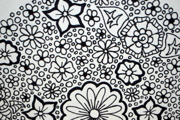 Flower Circle Adult Coloring Page Instant Download