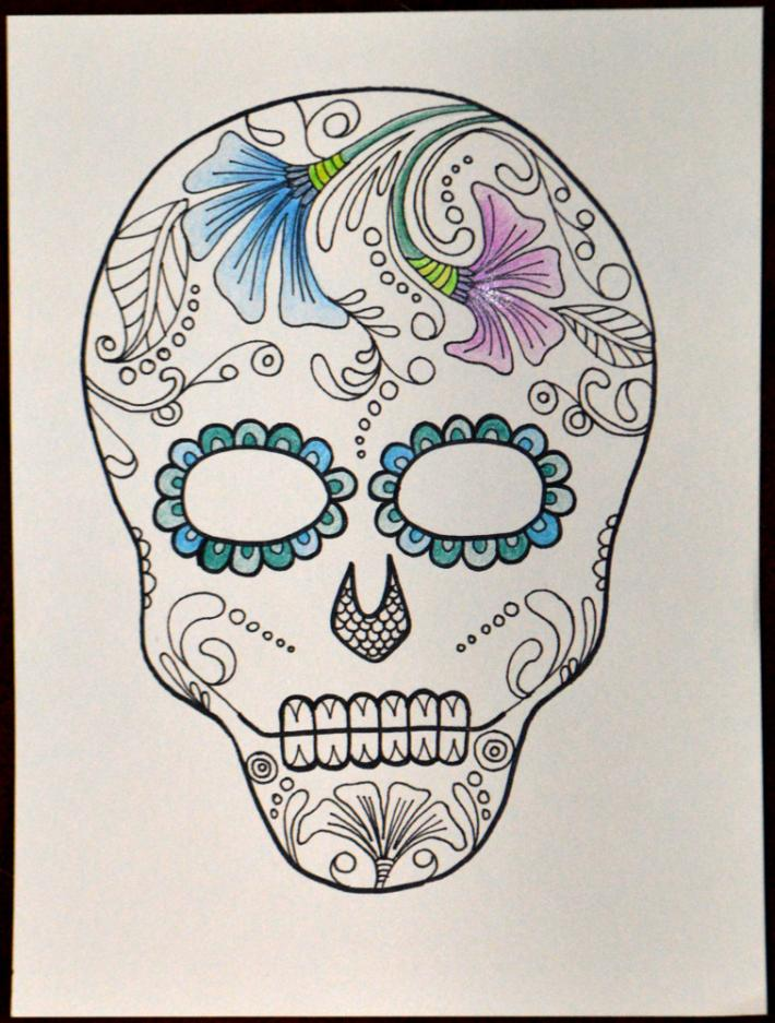 Sugar Skull Day of the Dead Adult Coloring Page Instant Download