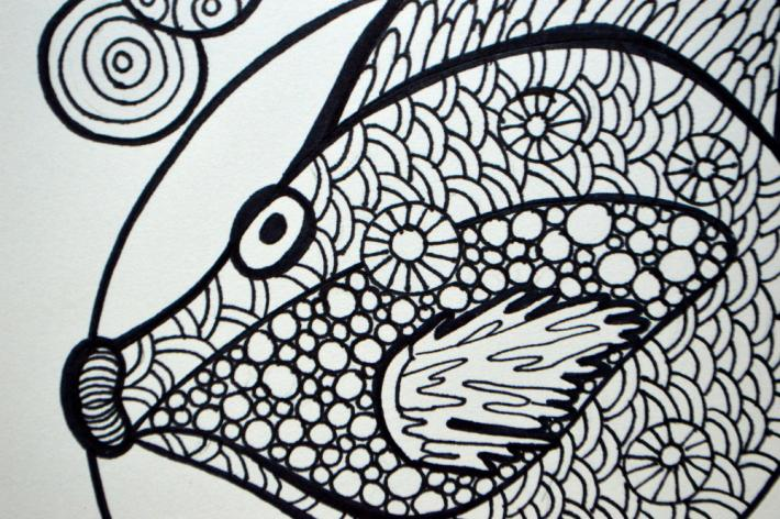 Fantasy Fish Adult Coloring Page Instant Download