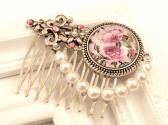 Romantic Hair Comb with roses and shell pearls