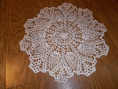 Crocheted White Pineapple Doily 13 Inches