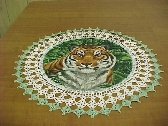 Crocheted Doily Bengal Tiger Doily Medium 18 inches Fabric Center Crocheted Edge Doilies