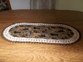 Crocheted Table Runner Fabric Center Handmade Buffalo Bison Dresser Scarf