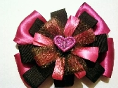 pink and brown stacked bow