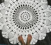 Off White Cotton Crochet Rug in Large 42 inch Circle