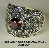 D Zircon and Marcasite Ring