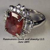 M Red Beryl and Zircon Ring