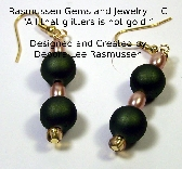 AM Green and Gold Bead Earrings