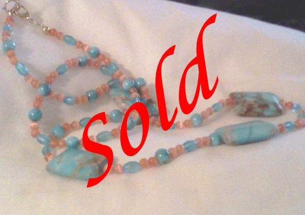 Turquoise Magnesite and Coral Cats Eye