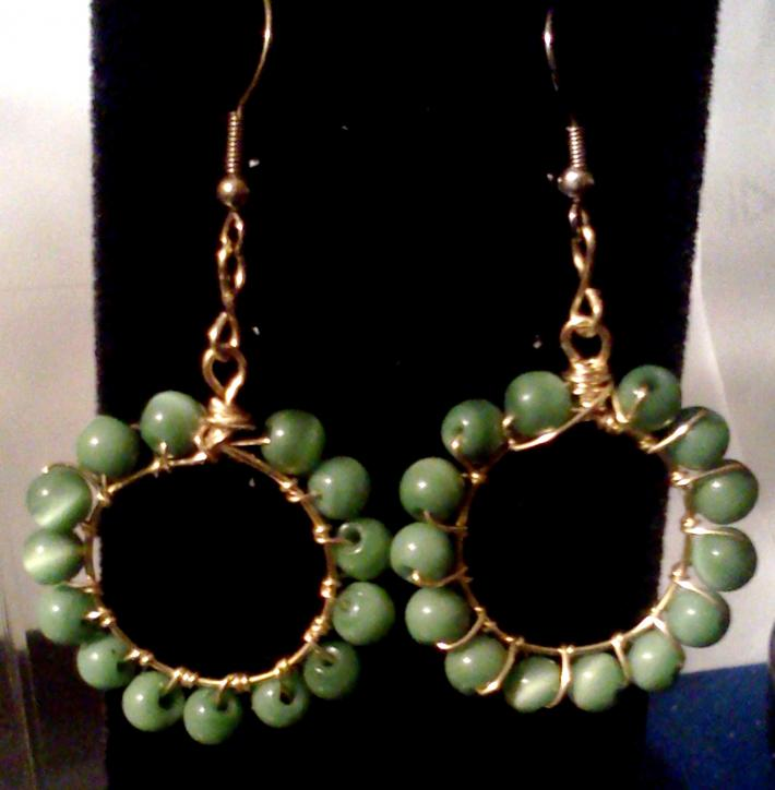 Wire Wrapped Jade Green Cats Eye Stone Earrings