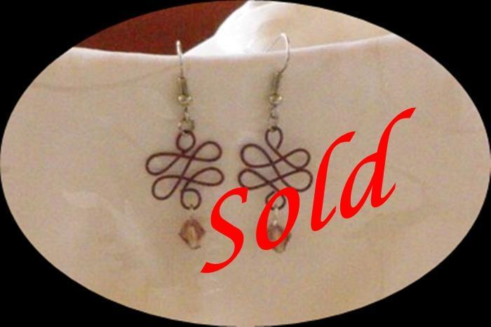 Burgandy Coated Wire Loop d Loop Earrings