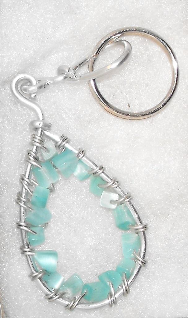 Aqua Stone Chip Wire Wrapped Keychain