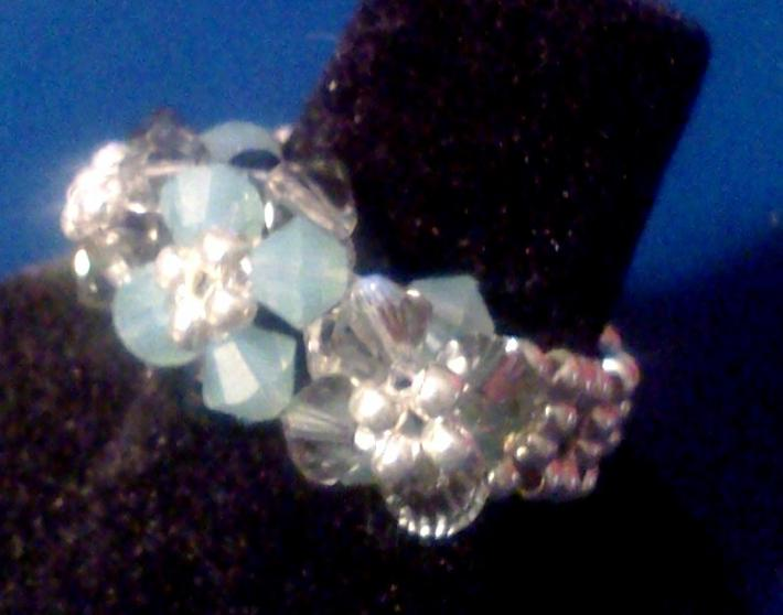 Handwoven Swarovski Crystal Tassel Ball Ring