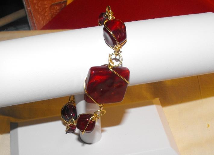 Red and Gold Wire Wrapped Red Glass