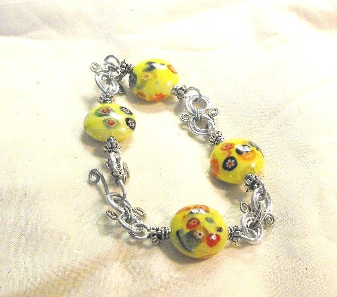 Yellow Flower Bead Bracelet