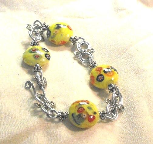 Handcrafted Wired Yellow Flower Bead Bracelet