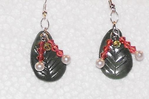 Handcrafted Polymer Clay Leaf and Swarovski Crystals