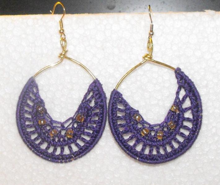Purple Crochet Thread Hoop Earrings