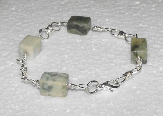 Silver and Grey Marble Handcrafted Bracelet