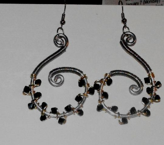 Silver and Black Wire Wrapped Swirl Earrings