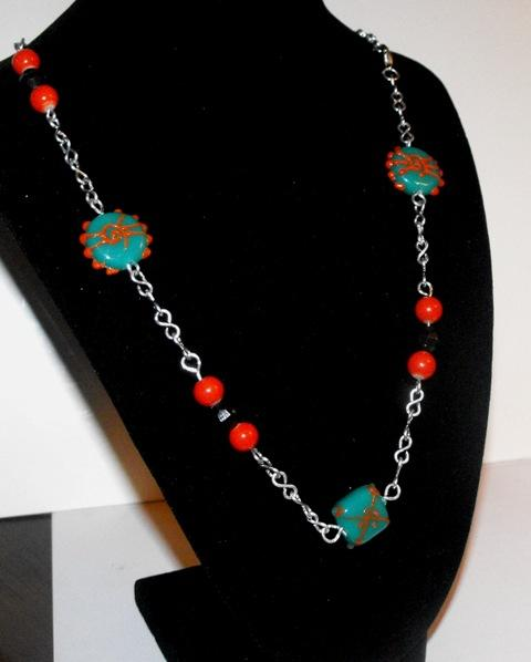 Turquoise and Orange Funky Beaded Necklace