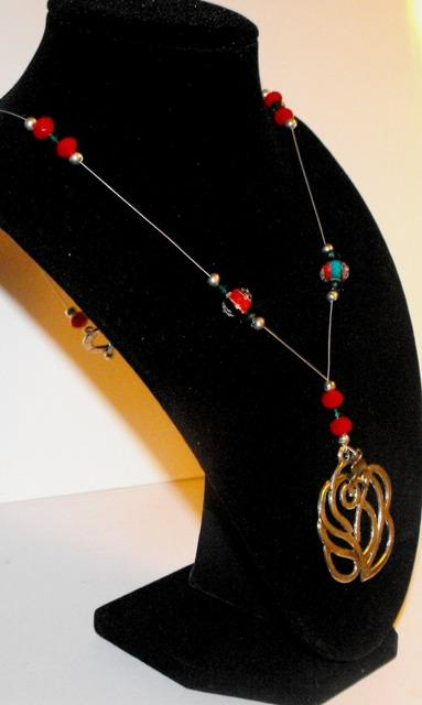 Red and Blue Sparkling Floating Necklace