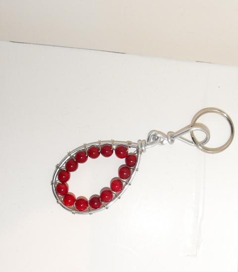 Red Carnelian Stone Keychain