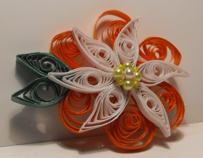 Coral and White Quilled Petals n Pinwheels Hair Clip
