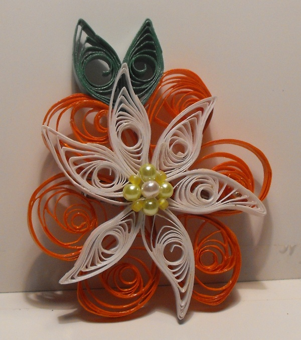 Coral and White Quilled Petals n Pinwheels Hair Clip by beadthing