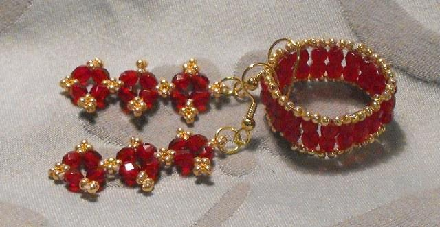 Ruby Red Dangle and Ring Set