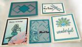 Set of 5 Handmade Greeting Cards Teal Glitter