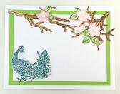 Adornsay Handmade Greeting Card with Peacock and Flowers