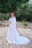 Hand Sewn White Satin Medieval Gown Free Shipping