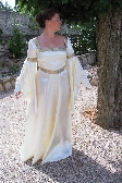 Hand Sewn Cream Satin Medieval Gown
