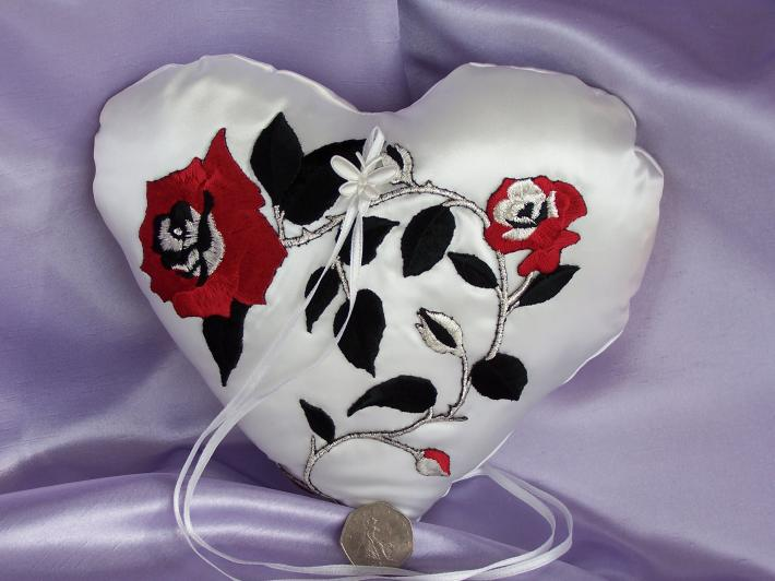 Hand Crafted Ivory Satin Ring Pillow With Rose Applique