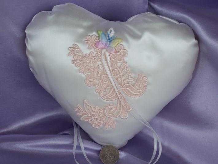 Hand Crafted Ivory Satin Ring Pillow With Pink Floral Applique