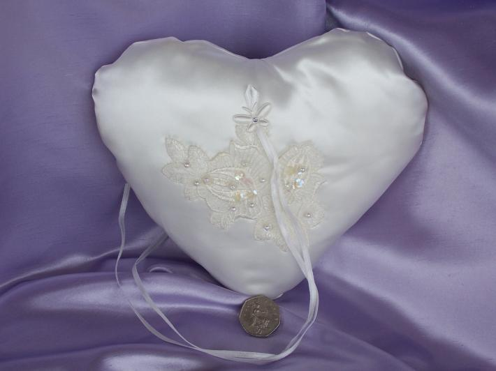 Hand Crafted Ivory Satin Ring Pillow With Ivory Floral Applique